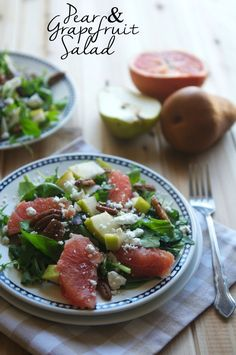 This grapefruit and pear salad tastes like fall and is perfect for lunch or dinner.