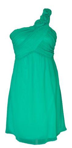 Rosette Strap Chiffon Dress Turquoise  #wedding