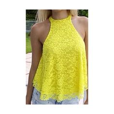 Sexy Round Neck Sleeveless Yellow Hollow Out Lace Blouse For Women ($14) ❤ liked on Polyvore featuring tops, blouses, yellow, sexy tops, round neck blouse, sexy lace tops, lacy blouses and yellow top