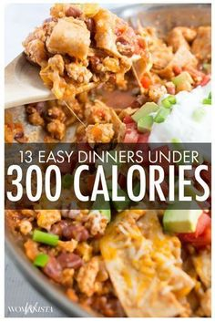 Some of our best dinner recipes clock in at 300 calories or less! Pastas, casseroles, breaded chicken filets and more are all on the menu!If you're watching your calories, pin this for healthy dinner ideas! 300 Calorie Dinner, Dinner Under 300 Calories, Low Calorie Dinners, No Calorie Foods, Low Calorie Recipes, Filling Low Calorie Meals, Healthy Recipes Low Calorie, Under 300 Calorie Meals, Healthy Quick Meals