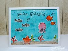 """Crafty Time 4U """"You're Fintastic"""" card using Lawn Fawn  stamps and dies #Sojelly #You'refintastic"""