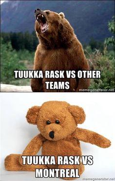 Tuukka Rask vs the Habs Hockey Teams, Hockey Players, Ice Hockey, Hockey Stuff, Montreal Canadiens, Hockey Boards, Boston Bruins, Lacrosse, My Boys