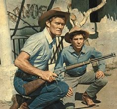 Chuck Connors (The Rifleman tv series) and Johnny Crawford - undated. My future children WILL watch this wonderful show