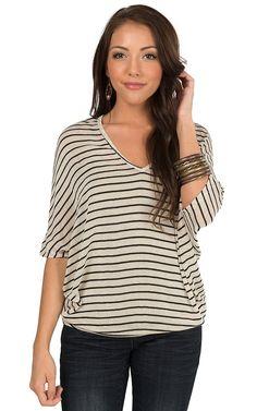 Karlie Women's Black & Natural Stripe Sweater Knit Short Sleeve Dolman Top   Cavender's