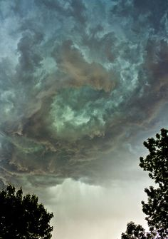 Rotating Storm.  Green hue always means hail.