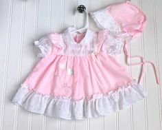 Excited to share this item from my shop: Vintage Baby Girl Pink Dress w/Bonnet, Size 3 6 Month Clothes, Ruffles, Heart Balloon Appliqué, White Floral Cotton w/ Peter Pan Collar Baby Girl Pink Dress, Baby Dress, Vintage Baby Clothes, Pink Ties, Heart Balloons, Little Dresses, Vintage 70s, Kids Outfits, Ready To Wear