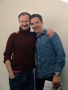 """thegameissomething:  Mark Gatiss and Benedict Cumberbatch - From the shoot of the """"Sorry we weren't at Comic Con"""" video"""