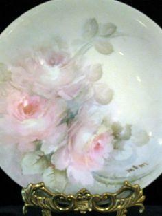 Limoges Plate Porcelain Hand Painted Signed Roses JPL France French HP   eBay