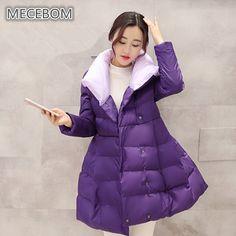 MECEBOM Women's Winter Jacket 2017 New Ruffles Design Warm Coat Jacket Parkas For Women A-line Coat 969c