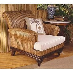 This is rattan furniture, something very common in British colonial interior design. Tropical Home Decor, Tropical Houses, Tropical Furniture, Tropical Interior, Tropical Style, West Indies Decor, Caribbean Decor, North Carolina Furniture, British Colonial Decor