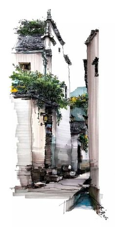 Traditional Anhui residences, marker pen painting by Chinese artist Shi Zhifang https://plus.google.com/+Simplifyyourlifepluschina/posts/Qc7L1MXW2GV
