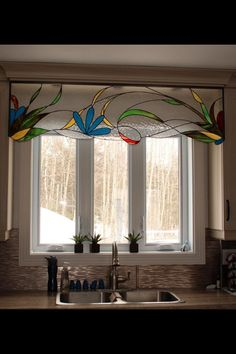 I really like the idea of stained glass as a valance! So cheerful, too. Faux Stained Glass, Stained Glass Designs, Stained Glass Panels, Stained Glass Projects, Stained Glass Patterns, Leaded Glass, Beveled Glass, Mosaic Glass, L'art Du Vitrail