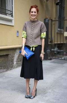 Spotted in Milan, Skirt and Sweater by Marc Jacobs