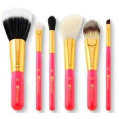 Bh Cosmetic Neon Pink travel size- 6 Piece Brush Set with cosmetic bag ❤ liked on Polyvore featuring beauty products