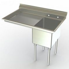Commercial Sinks - Aero NSF Single Bowl Deluxe Sinks, Left Hand Drainboard | KitchenSource.com