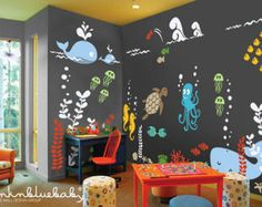 Space Theme Removable Wall Decal by pinknbluebaby on Etsy
