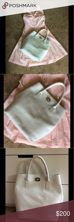 Authentic FURLA White Large Tote Handbag Pre-Loved Authentic FURLA White Tote Handbag. Pre-Loved Item with signs of wear such as stains, worn leather and stains. I have posted pictures of actual condition of this item. Furla Bags Totes