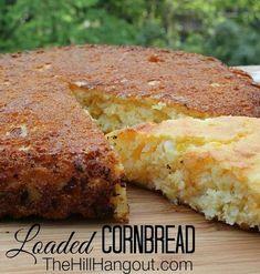 Loaded Cornbread : TheHillHangout -- full of onions, cheese, and real corn. Homemade Cornbread, Cornbread Recipes, Homemade Breads, Fried Cornbread, Mexican Cornbread, Chili Cheese Cornbread Recipe, Creamed Corn Cornbread, Good Food, Yummy Food