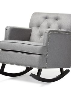 Deluxe Plush Rocking Chair | Grey | Modern Furniture • Brickell Collection