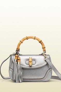 6d814b23ade Gucci New Bamboo Medium Top Handle Bag 254884 in Metallic Silver