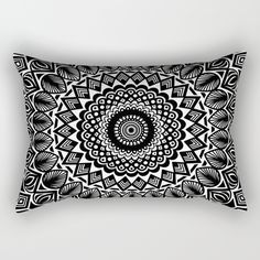 "Our Rectangular Pillow is the ultimate decorative accent to any room. Made from 100% spun polyester poplin fabric, these ""lumbar"" pillows feature a double-sided print Mandala mandalas mandela mandalas black and white detailed texture graphic-design affirm affirmations meditate meditation meditating luck lucky future positive positivity attitude good goodness happy happiness trend trendy modern boho bohemian girl"