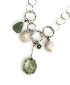 Faceted #prehnite #tourmaline #pearl #seaglass #argentium #sterling silver #necklace #judyhmorganjewelry