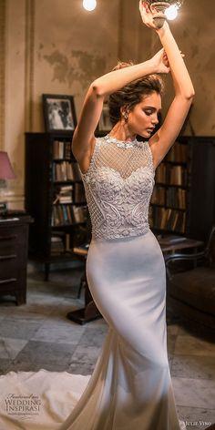 julie vino fall 2018 havana sleeveless illusion jewel sweetheart neck heavily embellished bodice elegant fit and flare sheath wedding dress chapel train (10) mv