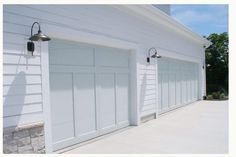 light placement, garage doors, door color: Silver Marlin 2139-50 by Benjamin Moore, Barnham Sconce $189