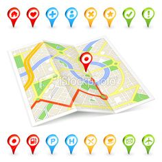 3D tourist Citymap with important places markers Royalty Free Stock Vector Art Illustration