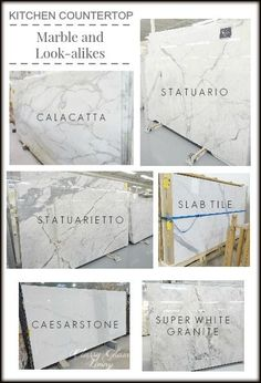 Kitchen Countertops Marble and Look-alike Alternatives Kitchen Countertop Marble and Look-alike AlternativesClassy Glam Living Statuario statuarietto calacatta carrera Caesarstone calacatta Nuvo Super white granite Deco Design, Küchen Design, Home Design, Design Ideas, Kitchen Redo, New Kitchen, Kitchen Walls, Kitchen Ideas, Kitchen Themes