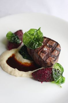 Winterlicious Filet of Ontario Beef - sweet & sour beets, sautéed spinach. Gourmet Desserts, Gourmet Recipes, Beef Recipes, Plated Desserts, Beef Tips, Gourmet Foods, Dinner Recipes, Grilled T Bone Steak, Beef Steak