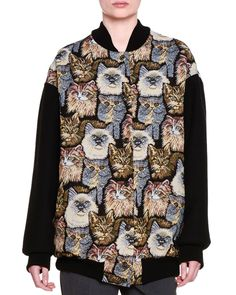 Cat-Embroidered Bomber Jacket, Black