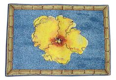 """Unique and Custom {13' x 18' Inch} Single Pack of Rectangle """"Non-Slip Grip Texture"""" Large Table Placemat Made of Washable Cotton and Polyester w/ Tropical Bordered Flower Design [Colorful Blue and Yellow] * Check this awesome image  : Kitchen Table Linens"""