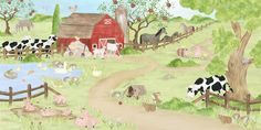 barn farm mural | Wall About Fun: Farm Theme Wallpaper Murals - Barnyard Animal ...