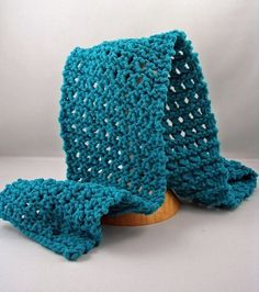 Four Row Lace Scarf Cast on 19 sts. Row 1 Purl row. Row 2 Purl row. Row 3 K2, *yo, slip 1, K1, Pass slipped stitch over* repeat until end of row ending with K1. Row 4 Purl row. Repeat rows 1 to 4 until you reach desired length.