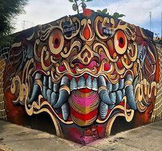 "354 Me gusta, 5 comentarios - Josh / J-Boogie (@boogienseattle) en Instagram: ""Revost doing his thing! @revost #revost #mural #muralist #graf #graffiti #graffitiart #mask #face…"""