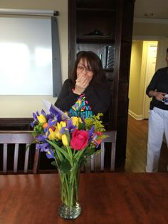 Marina, from central billing, is just named Staff Member of the Month for January 2014! She's feeling the love with this beautiful bouquet of flowers.