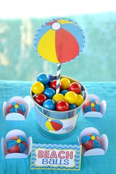 """""""Beach balls"""" gumballs and cake pops for a summer party. Crissy's Crafts."""