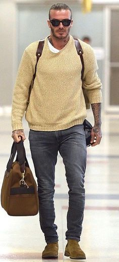 40ea804fc5 ... with a fall combo idea with a beige sweater white t-shirt sunglasses brown  leather backpack slim cut blue jeans brown duffle bag tan suede chelsea  boots