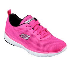 Make athletic comfort and sporty good looks your priority with the SKECHERS Flex Appeal - First Insight shoe. Soft flat-knit mesh fabric upper in a lace up athletic sporty training sneaker with stitching accents and Air Cooled Memory Foam insole. Training Sneakers, Training Shoes, Memory Foam, Sneaker Pink, Skechers Store, Skechers D Lites, Fabric Shoes, Vegan Shoes, Sneaker Brands