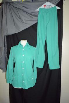 Vintage Pant Shirt Leisure Suit Set NPC Fashions Label Green Polyester No Sz Tag #NPCFashions
