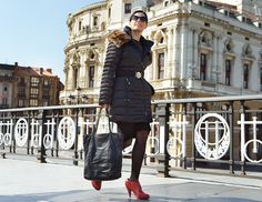 Women down coat. Fashion editorial Bilbao. Stylish or dress up
