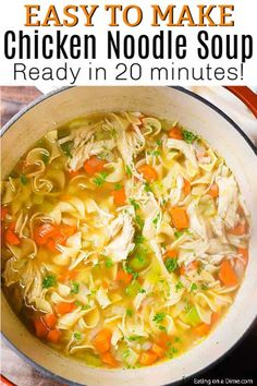 You can enjoy this Homemade Chicken Noodle Soup Recipe in just 20 minutes. If you are craving soup, this is the best homemade chicken noodle soup that is cooked on the stove top. This easy healthy chi Easy Homemade Chicken Noodle Soup Recipe, Best Chicken Noodle Soup, Chicken Soup Recipes, Easy Soup Recipes, Healthy Chicken Recipes, Cooking Recipes, Recipe Chicken, Noodle Soups, Basic Soup Recipe