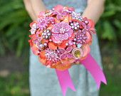 Interesting idea, bouquets made from various reused brooches, from Noaki on Etsy