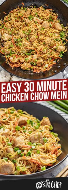 Easy 30 Minute Chicken Chow Mein is so easy to put together and has the most incredible flavor! The whole family will love this 30 minute meal! Pan Dulce, Asian Recipes, Healthy Recipes, Chinese Recipes, Chinese Food, Asian Chicken Recipes, Asian Foods, Healthy Meals, Chow Mein Au Poulet