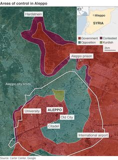 Areas of control in Aleppo as of 27 February 2015