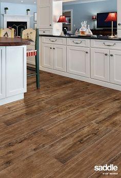 Marazzi American Estates Saddle Wood Look Tile Flooring Wood Look Tile Floor, Wood Tile Floors, Plank Flooring, Vinyl Flooring, Kitchen Flooring, Hardwood Floors, Marazzi Tile, Porcelain Wood Tile, New Kitchen Designs