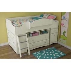 Children White Twin Loft Bed Kids Girl Furniture Bedroom Bunk Bed Dresser Chest