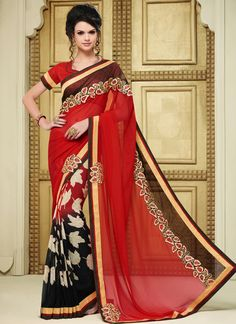 Buy georgette-lace-border-work-party-wear-saree-red-1611 through Online Shopping…