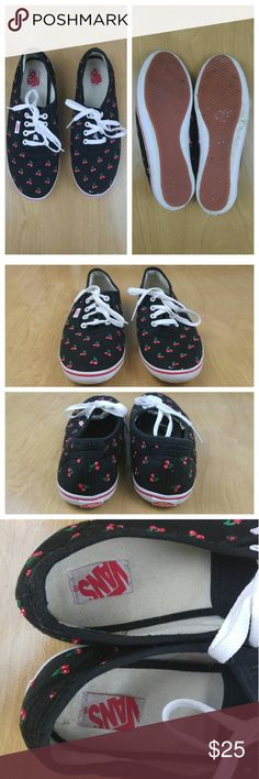 "Vans Women's USED Blk Canvas Cherry Shoes 8.5 Vans Off The Wall Women's USED Black Canvas Cherry Print Shoes 8.5. Shoes have original laces. They show wear on footbed and on rubber/soles area. No rips. No bad odor. Item comes from smoke free home.? Lenght: 10.5""? Width: 3.5"" Vans Shoes Sneakers"